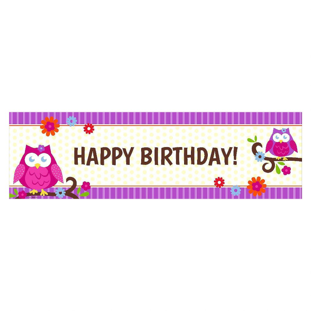 Owl Blossom Birthday Banner - Standard, Multicolored