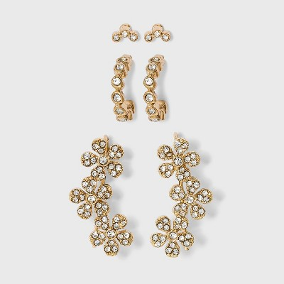 Crystal Glass Stud Small Hoop Earring Set 3pc - A New Day™ Gold