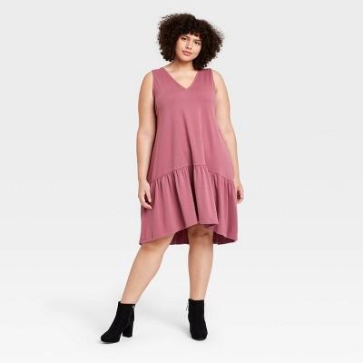 Women's Ruffle Sleeveless Hem Knit Dress - A New Day™ Purple XS