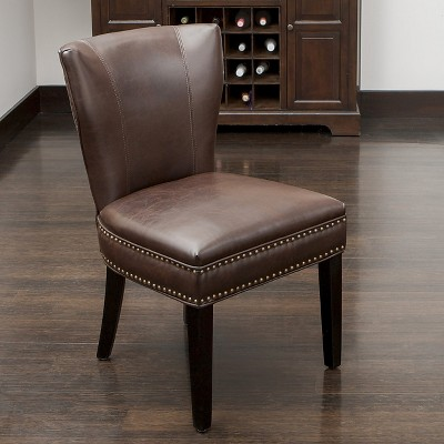 Jackie Leather Accent Dining Chair Brown - Christopher Knight Home : Target