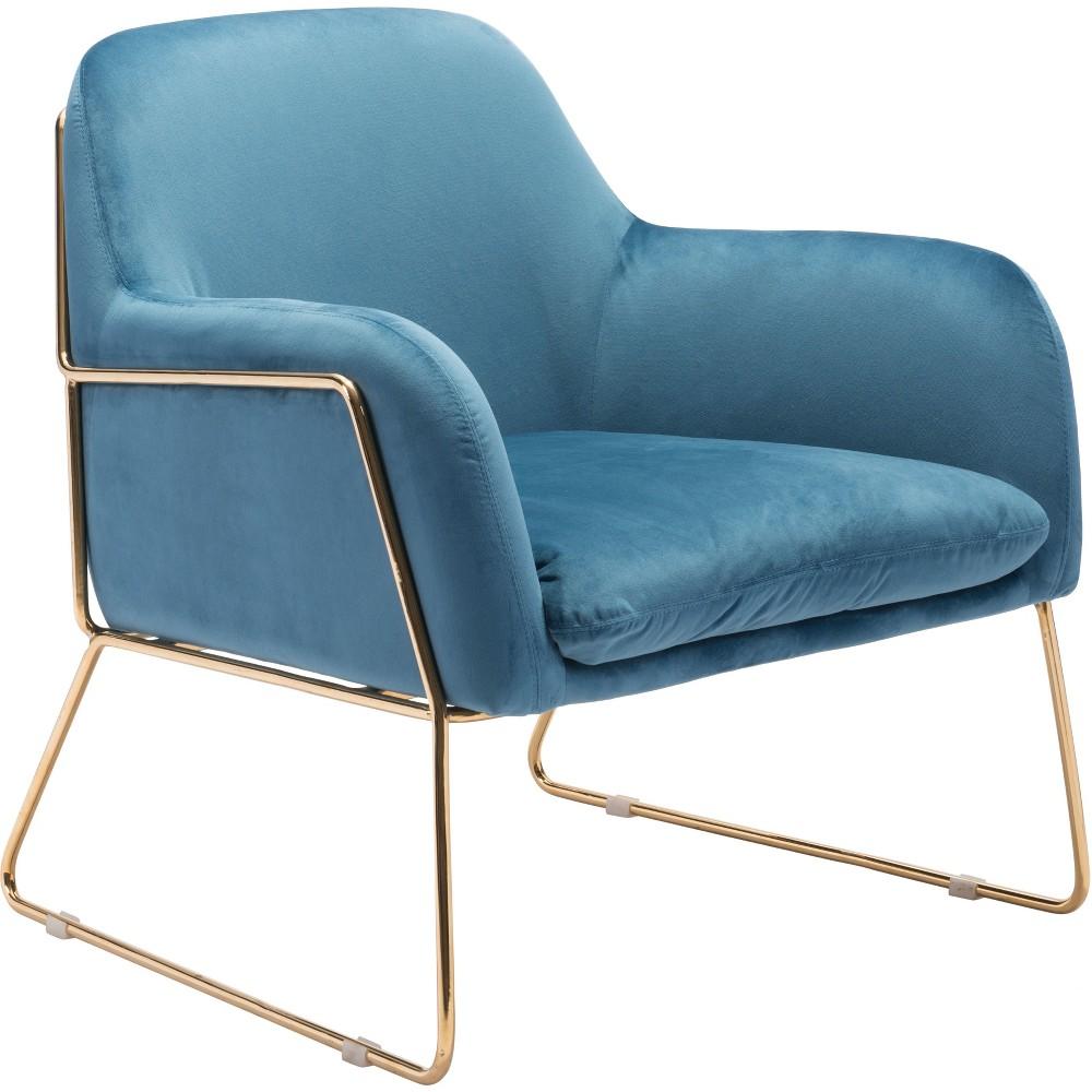 Luxe Velvet Arm Chair Blue - ZM Home