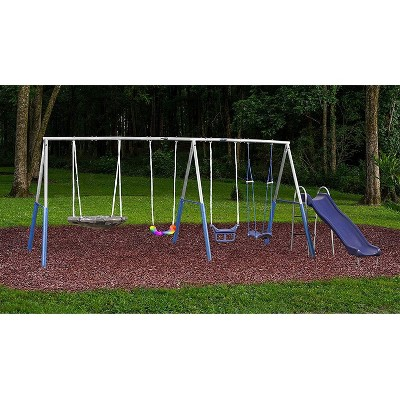 XDP Recreation G Series A-Frame Surf N Swingin Plus Steel Outdoor Play Set w/ Slide & LED Rainbow Swing for Kids Age 3 to 8, Supports 600 Pounds, Blue