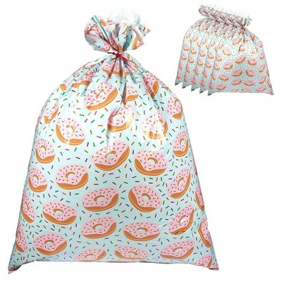 Pack of 6 Jumbo Gift Bags - Giant Plastic Gift Sacks in Donuts Design - Perfect for Large Gifts - Includes Red Strings for Tying, 36 x 48 Inches