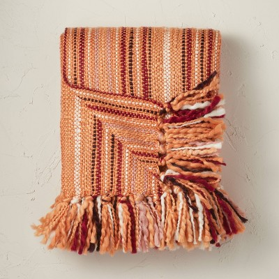 Woven Striped Throw Blanket Terracotta - Opalhouse™ designed with Jungalow™