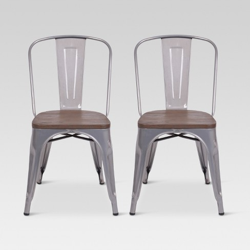 Carlisle High Back Metal Dining Chair With Wood Seat