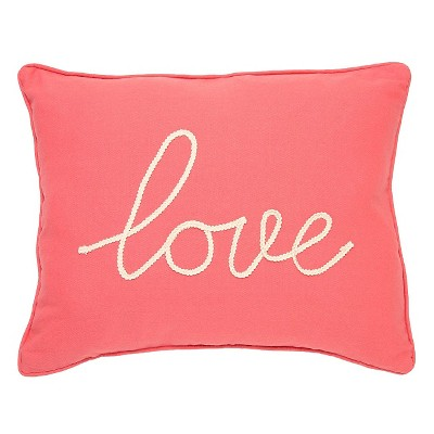 "Coral Love Throw Pillow (14"" X 18"")- Homthreads"