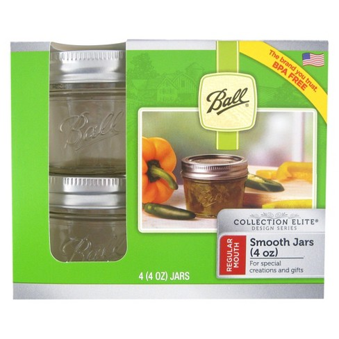 Ball® Set of 4 4 oz Smooth Sided Canning Jar - image 1 of 2