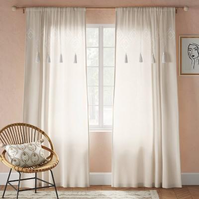 Tufted Diamond Light Filtering Curtain Panel White - Opalhouse™
