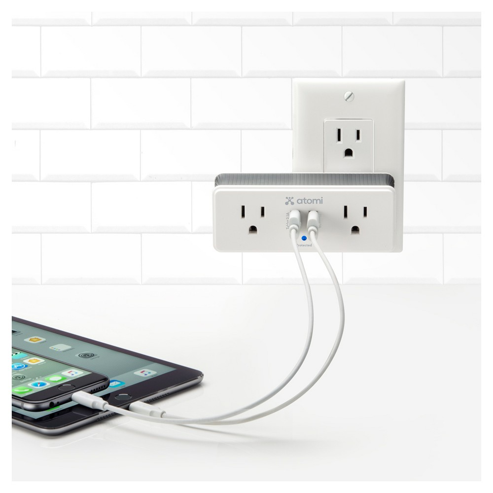 Atomi - Mini Surge Protector, White Charge your valuable electronics securely with the Atomi Mini Surge Protector. This convenient protector features two wall outlets and two Usb charger outlets for charging up to four devices at once, and its compact construction means it won't get in the way of your other devices. Color: White.