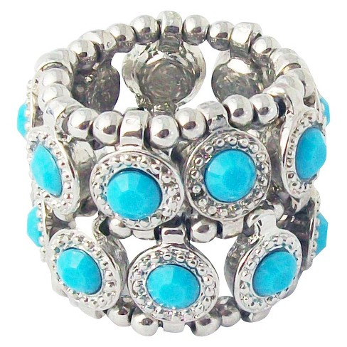 Zirconite Stretch Ring with Crystals - Turquoise - image 1 of 1