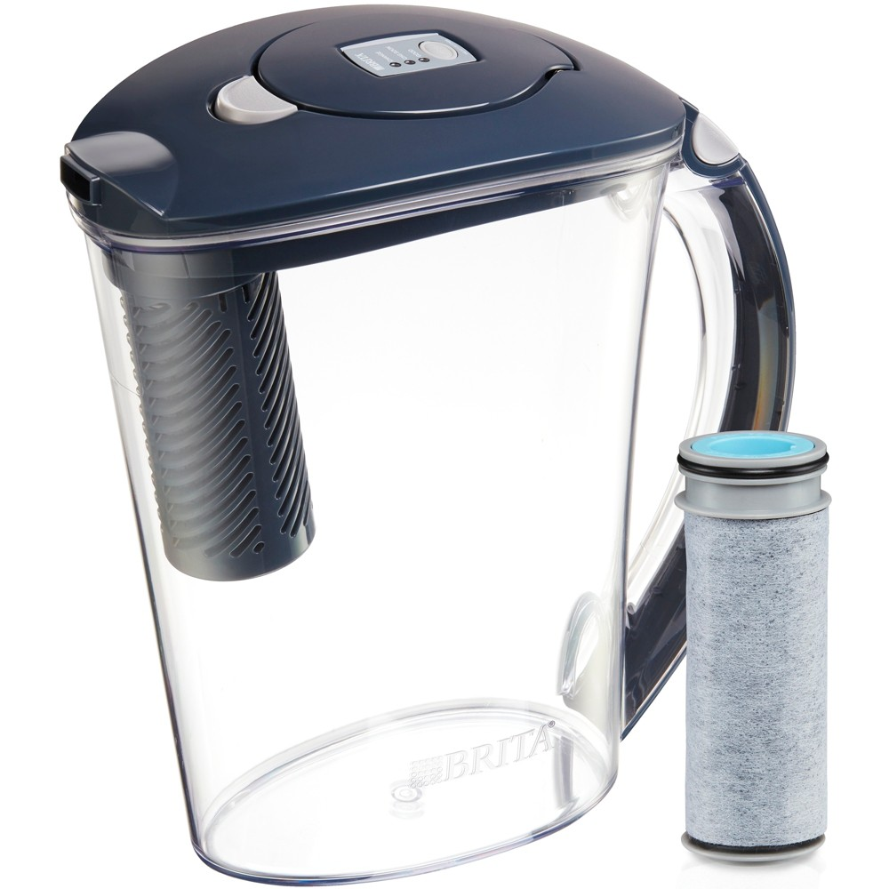 Image of Brita Large 10 Cup BPA Free Stream Filter as You Pour Water Pitcher with 1 Filter - Gray