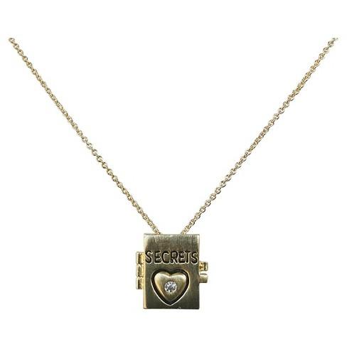 "Zirconite Book of ""Secrets"" Charm Pendant Necklace Gold - 16"" - image 1 of 1"