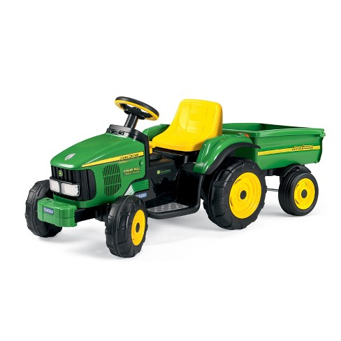 Peg Perego 6V John Deere Power Pull Tractor Powered Ride-On - Green - image 1 of 4