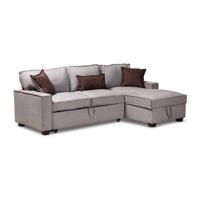 Emile Sectional Sofa with Pull Out Bed Gray - Baxton Studio