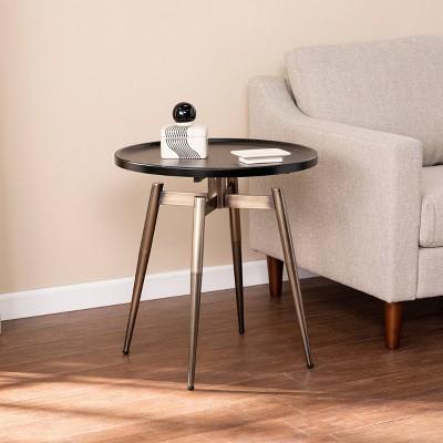 Lockmere Midcentury Modern End Table Black/Antique Brass - Holly & Martin