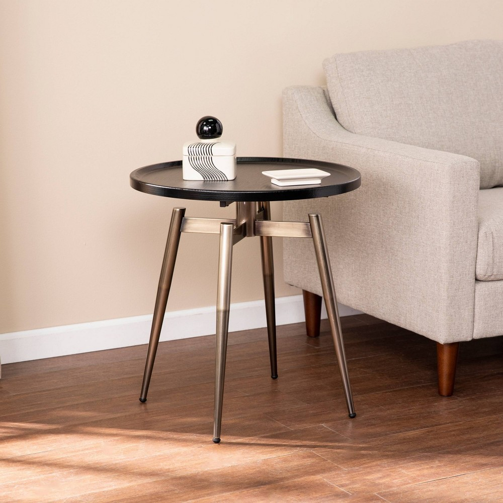 Discounts Lockmere Midcentury Modern End Table Black/Antique Brass - Holly & Martin