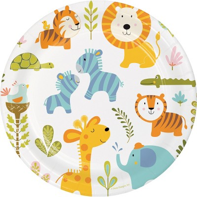 24ct Happy Jungle Paper Plates Green