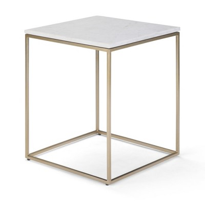 """18"""" Holmes Accent Table White/Gold - WyndenHall"""