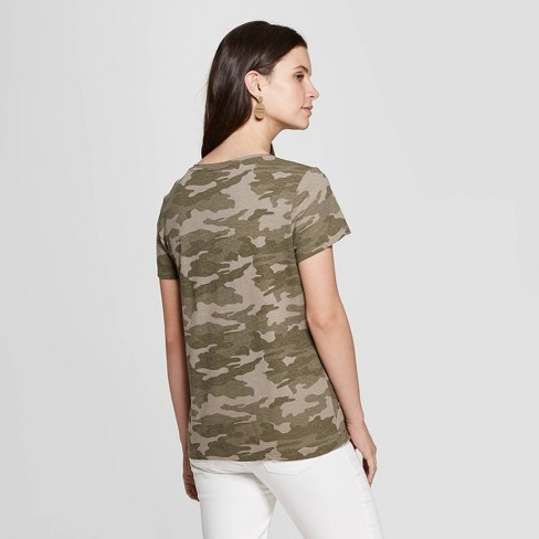 80f3e0811 Women's Camo Print Relaxed Fit Short Sleeve V-Neck Monterey Pocket T-Shirt  - Universal Thread™ Green