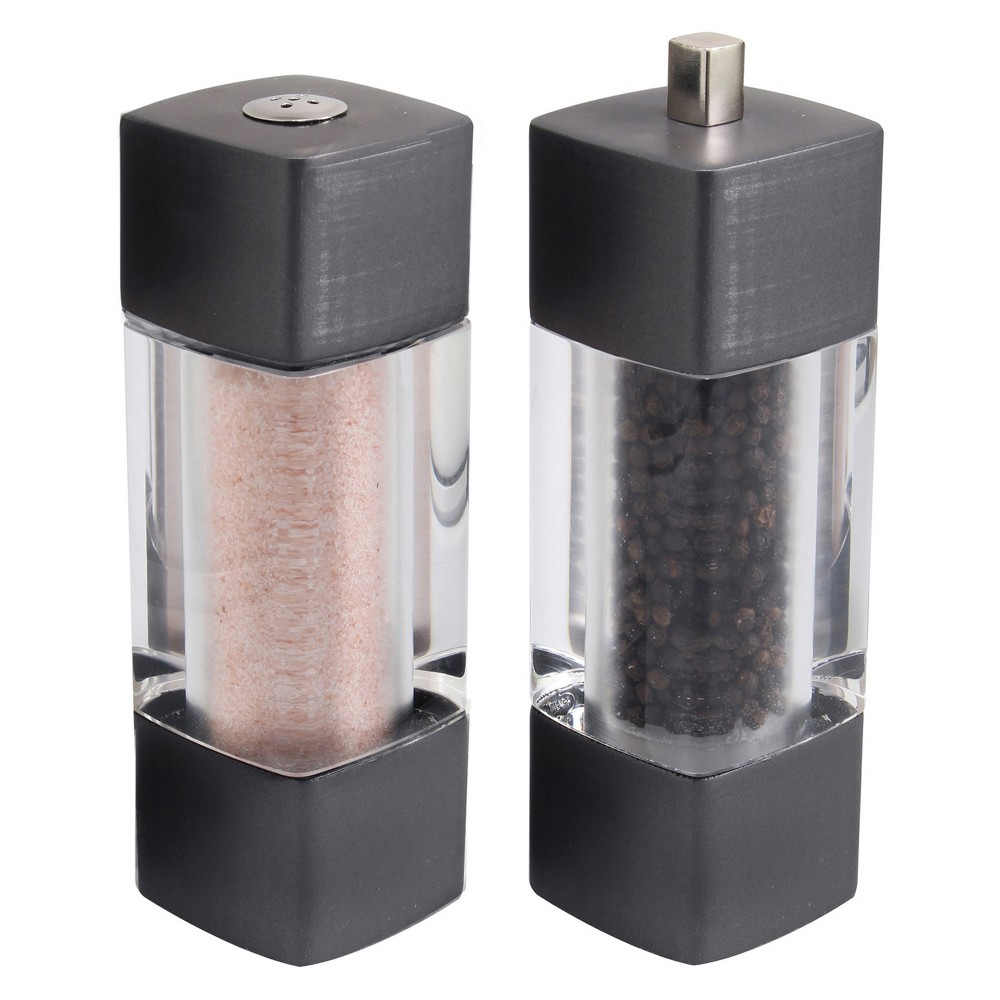 Olde Thompson Soho Mess Free Peppermill and Pink Salt Set, Dark Gray