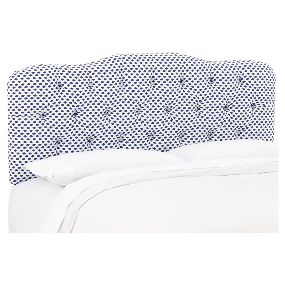 Seville Patterned Headboard - Sahara Midnight White Flax - Full - Skyline Furniture