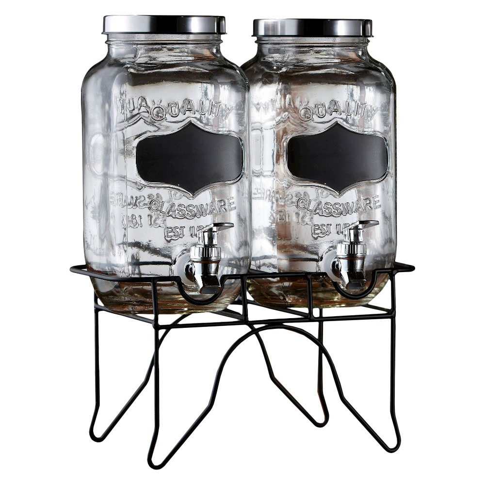 Image of American Atelier Chalkboard Beverage Dispenser with Stand Set of 2