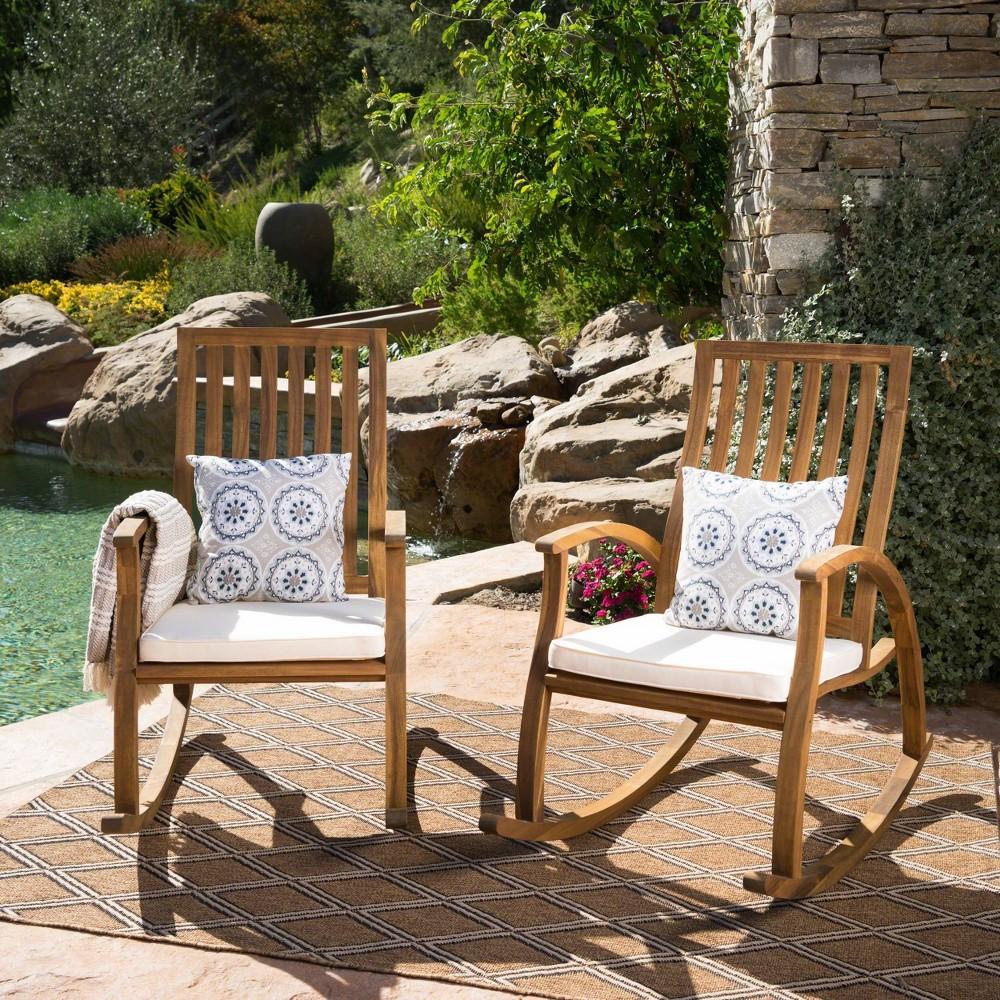Cayo 2pk Acacia Wood Rocking Chair - Natural/Cream (Natural/Ivory) - Christopher Knight Home