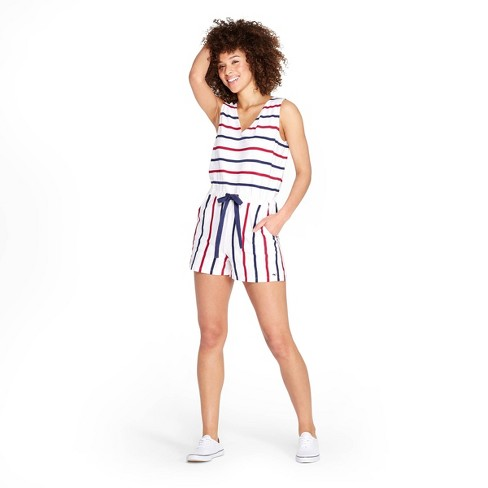 6ca3570b3b6c6e Women's Striped Sleeveless V-Neck Romper - Red/Blue - vineyard vines® for  Target
