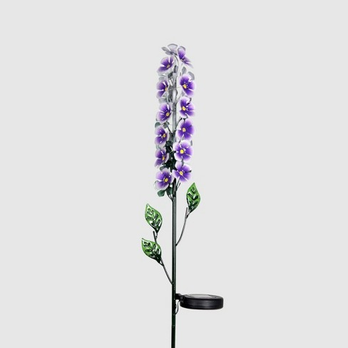 "42"" Solar Resin/Metal Flower Stalk Garden Stake Purple - Exhart - image 1 of 2"