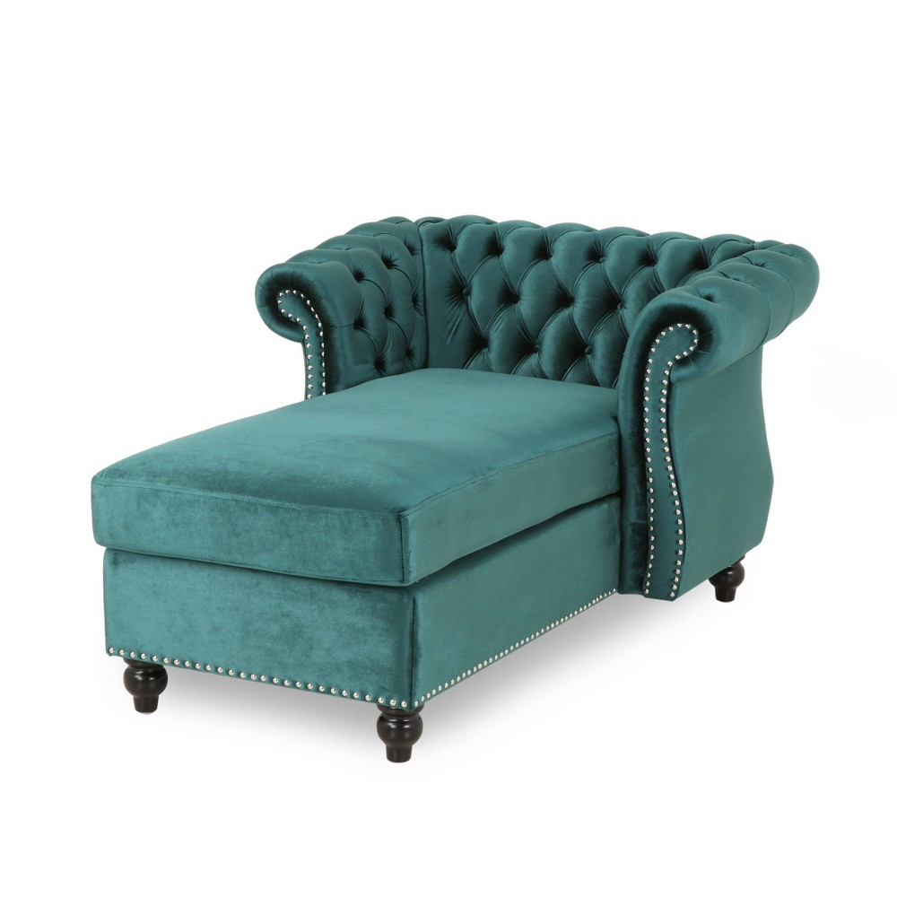 Lancelot Modern Glam Chesterfield Chaise Lounge Teal Dark Brown Christopher Knight Home
