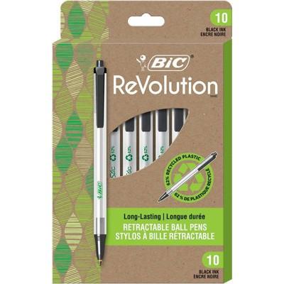 10pk Ballpoint Pens ReVolution Retractable Black Ink - BiC