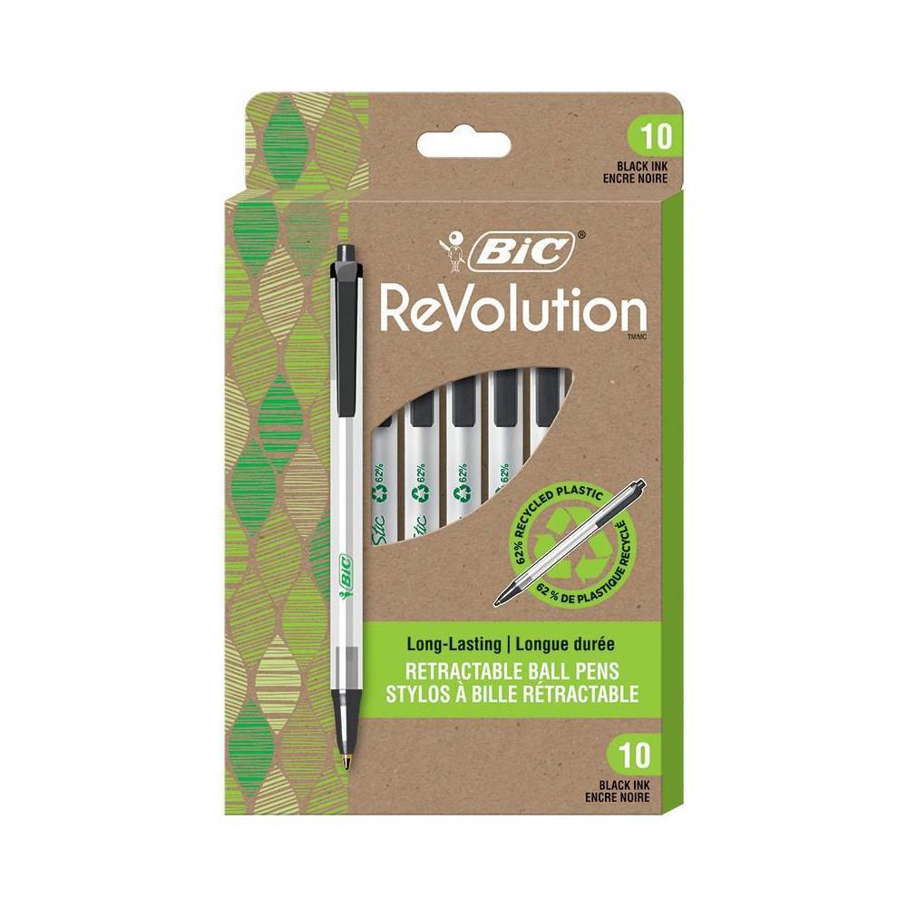 10pk Ballpoint Pens Revolution Retractable Black Ink Bic