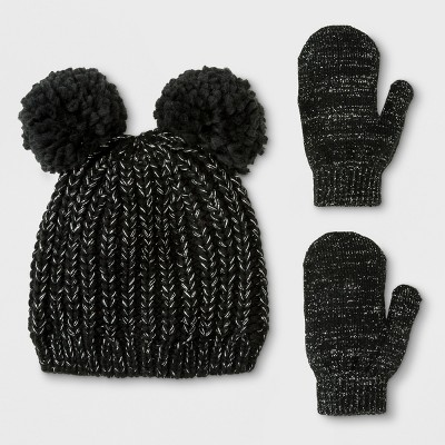 Toddler Girls' Lurex Pom Beanie Hat and Mitten Set - Cat & Jack™ Black 12-24M