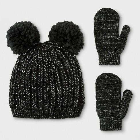 Target Toddler Girls' Lurex Pom Beanie Hat and Mitten Set – Cat & Jack™ Black $9.99