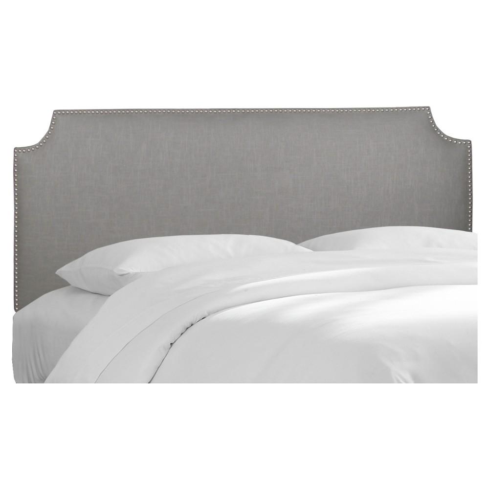 Full Lombard Nail Button Notched Headboard Gray Linen - Skyline Furniture, Grey Linen