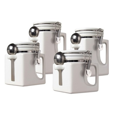 Oggi® Ceramic 4pc EZ Grip Airtight Canister Set White