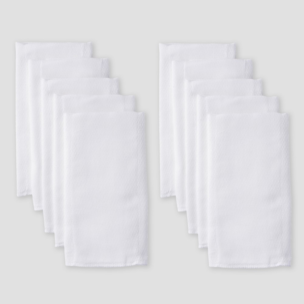 Image of Gerber Baby 10pk Prefold Birdseye Diaper - White One Size