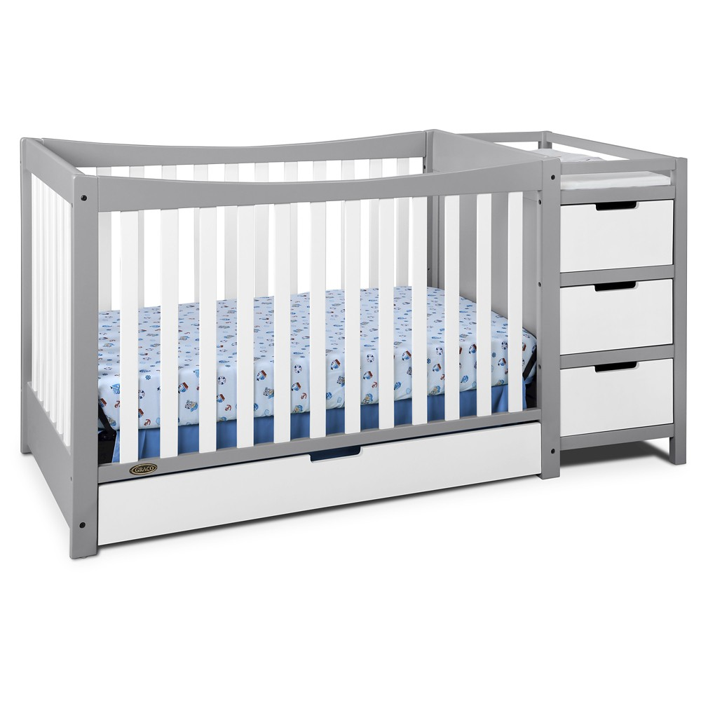 Image of Graco Remi 4-in-1 Convertible Crib and Changer - Pebble Gray/White