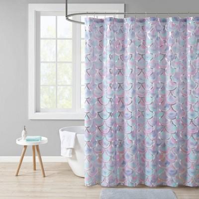 Daphne Metallic Printed Shower Curtain Aqua/Purple