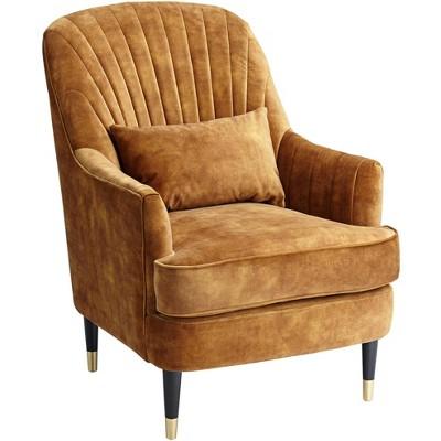 55 Downing Street Austen Caramel Velvet Tufted Modern Armchair with Pillow