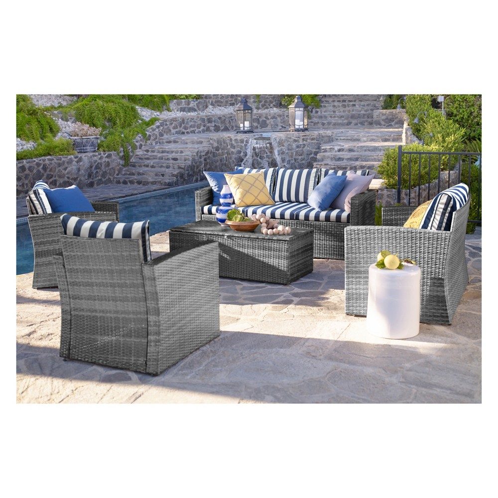 Image of 5pc Rio All-Weather Wicker Conversation set with Storage Gray/Blue Stripes - Thy Hom