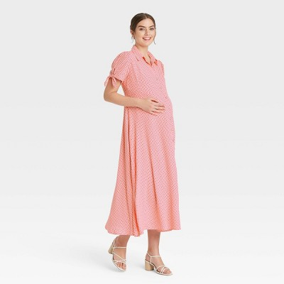 The Nines by HATCH™ Tie Short Sleeve Crepe Maternity Dress