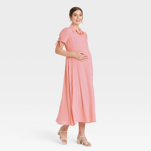 The Nines by HATCH™ Tie Short Sleeve Crepe Maternity Dress - image 1 of 3