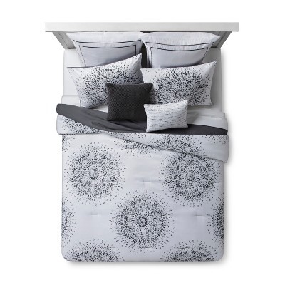 Gray Medallion Sunburst Comforter Set (King)8pc