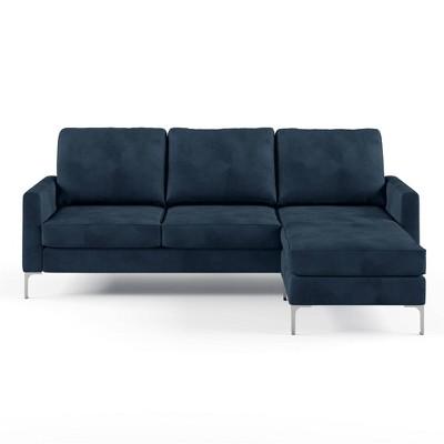chapman-velvet-sectional-sofa-with-chrome-legs---novogratz by novogratz