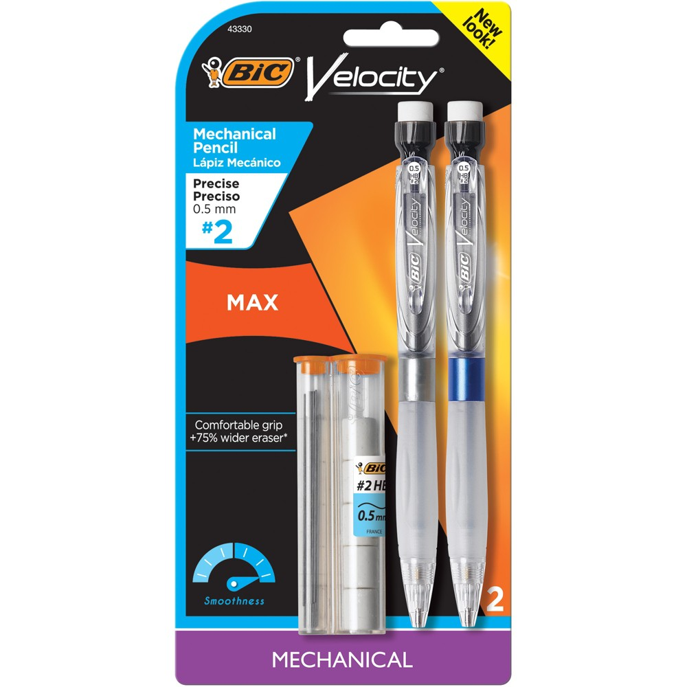 Image of 2ct .5mm #2 Mechanical Pencil Velocity Max - BIC, Black