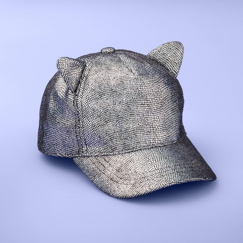 Girls' Iridescent Cat Baseball Hat - More Than Magic™ Silver - image 1 of 2