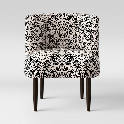 Clary Curved Back Accent Chair Black & White Floral - Opalhouse™