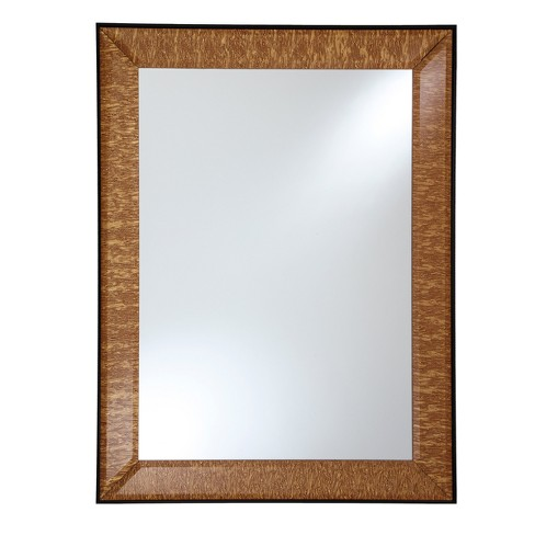 "Rectangular Beveled Framed Wall Mirror with Textured Gold Fabric Embedded Border Gold 24"" X 28"" - Breeze Point - image 1 of 1"