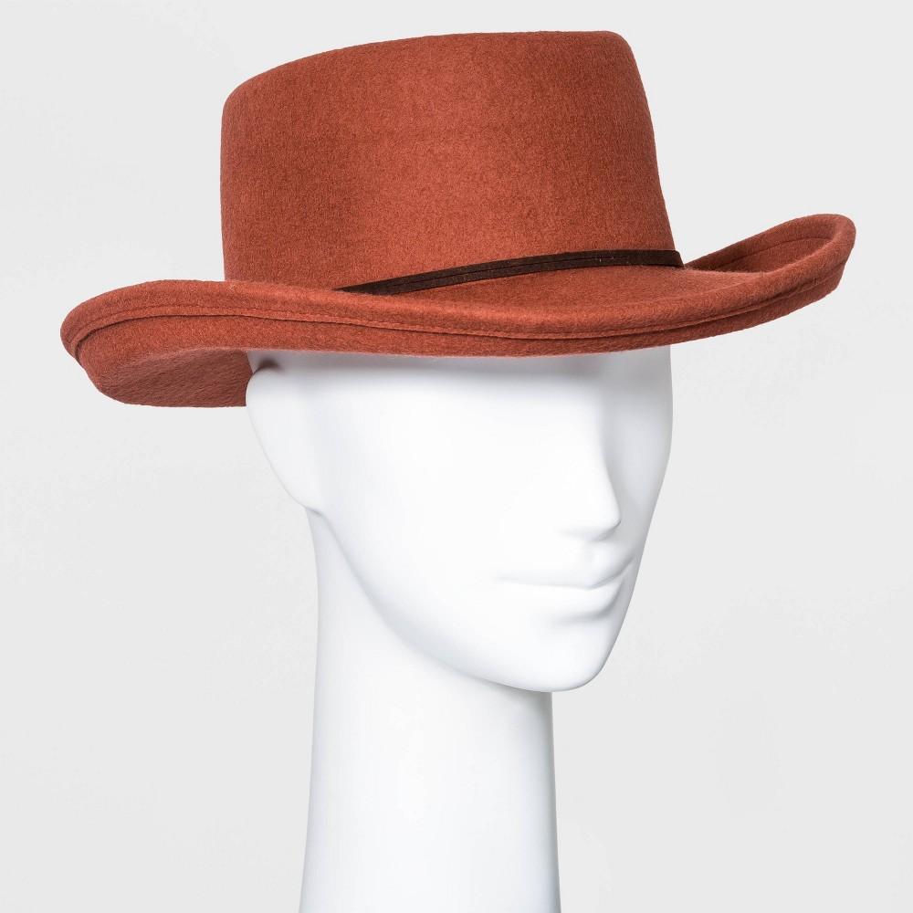 Hippie Hats,  70s Hats Womens Felt Boater Hat - Universal Thread Rust Red $20.00 AT vintagedancer.com